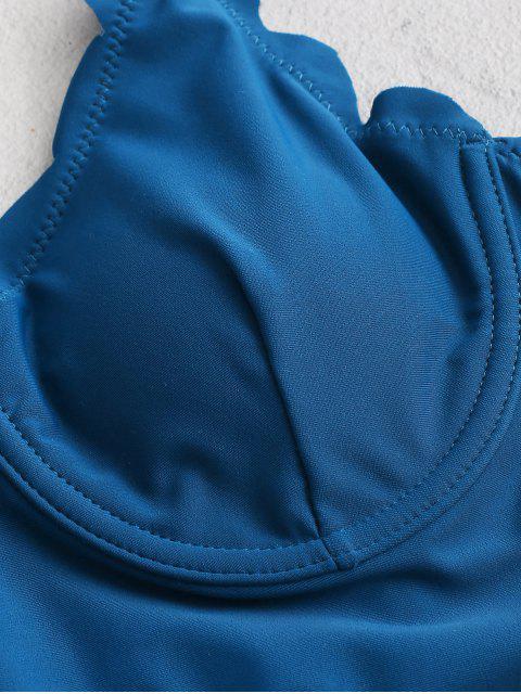ZAFUL Maillot de Bain Tankini Festonné à Lacets à Armature - Bleu Océan S Mobile