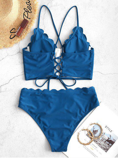 ZAFUL festoneado con cordones con aros de Tankini del traje de baño - Azul Océano  XL Mobile
