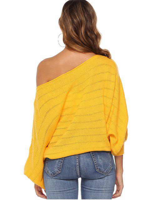 best Skew Neck Openwork Batwing Sleeve Sweater - YELLOW M Mobile