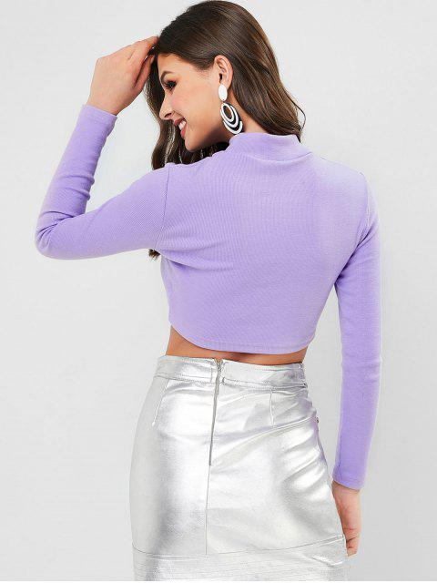 fancy Mock Neck Bear Patched Ribbed Cropped Top - MAUVE L Mobile