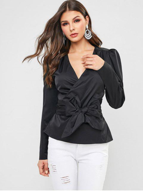 online Puff Sleeve Surplice Belted Blouse - BLACK L Mobile
