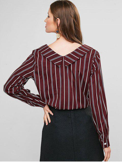 shops Striped Turndown Collar Knotted Blouse - RED WINE XL Mobile