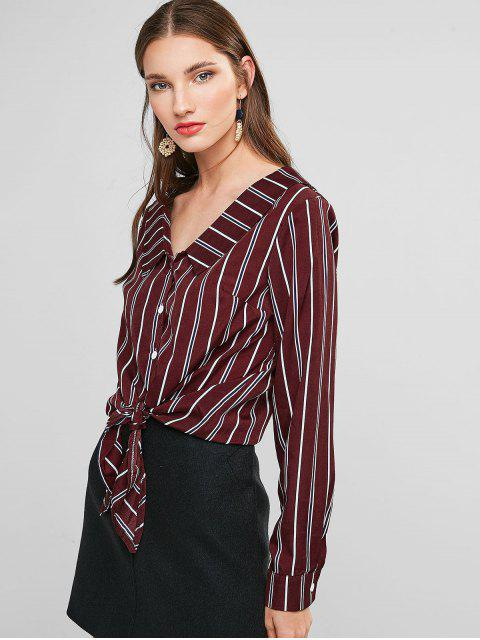 lady Striped Turndown Collar Knotted Blouse - RED WINE L Mobile