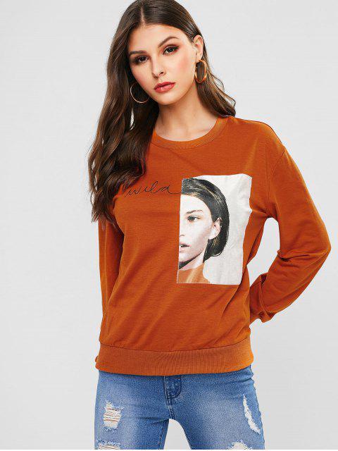 affordable ZAFUL Face Patched Drop Shoulder Sweatshirt - LIGHT BROWN L Mobile