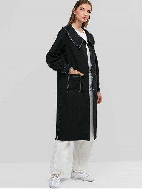 womens Button Up Patched Pockets Side Slit Longline Coat - BLACK S Mobile