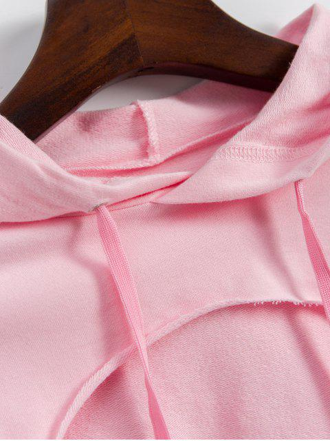 fashion Cropped Cut Out Front Raw Hem Hoodie - PINK M Mobile