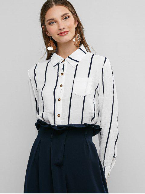 shops Striped Chest Pocket Curved Shirt - WHITE M Mobile