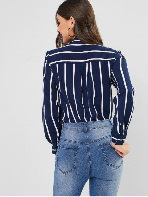 trendy Pussy Bow Vertical Striped Blouse - DEEP BLUE M Mobile