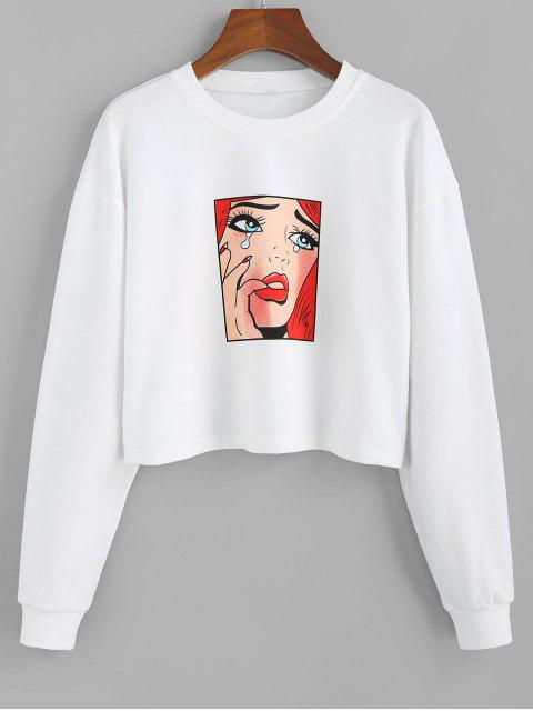 womens ZAFUL Portrait Graphic Crew Neck Crop Sweatshirt - WHITE S Mobile