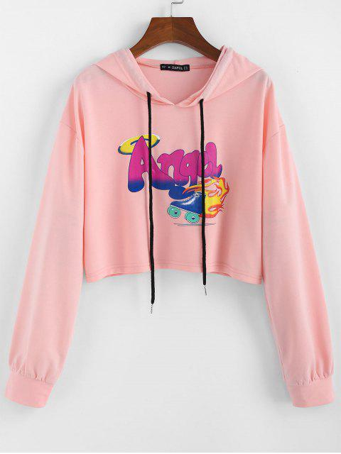 affordable ZAFUL Letter Graphic Drawstring Cropped Hoodie - FLAMINGO PINK L Mobile