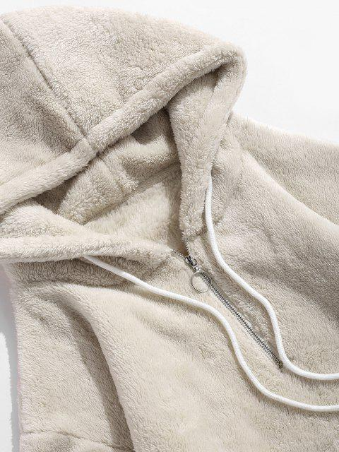 new Applique Solid Color Faux Fur Half Zipper Drawstring Hoodie - WARM WHITE S Mobile