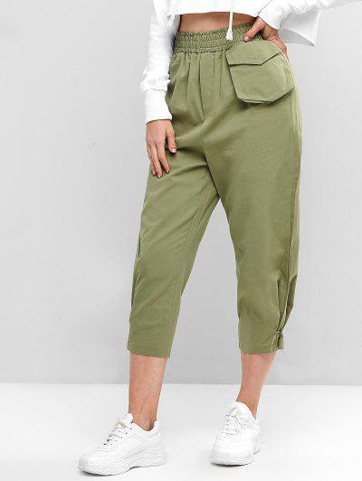 Pantalones de Cintura Alta de Color Sólido con Bolsillos