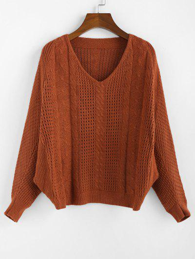 ZAFUL X Yasmine Bateman Dolman Sleeves V Neck Solid Open Knit Sweater - Red Dirt S