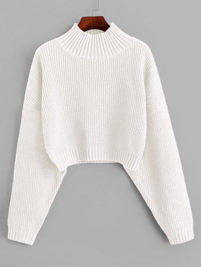 ZAFUL Jersey De Punto De Cuello Alto Y Hombro Caído - Blanco L
