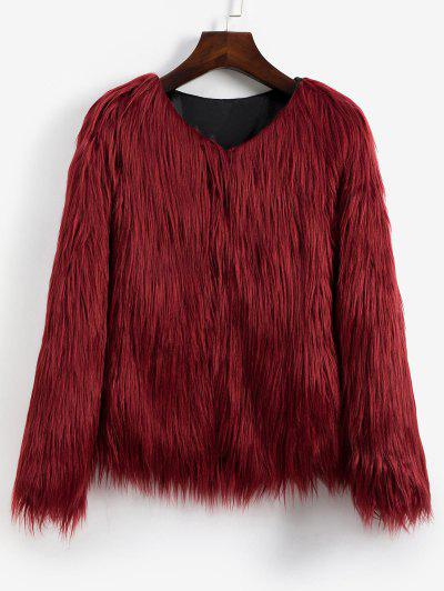 Faux Fur Shaggy Style Plush Fluffy Coat - Red Wine Xs