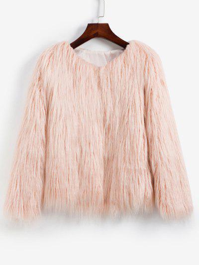 Faux Fur Shaggy Style Plush Fluffy Coat - Pink Xs