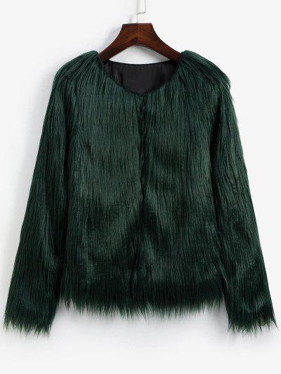 Faux Fur Shaggy Style Plush Fluffy Coat - Army Green Xs