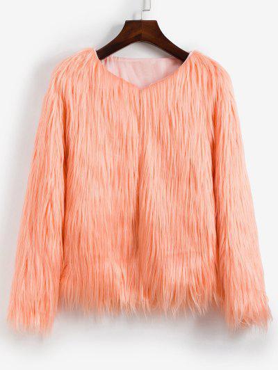Faux Fur Shaggy Style Plush Fluffy Coat - Deep Peach Xs