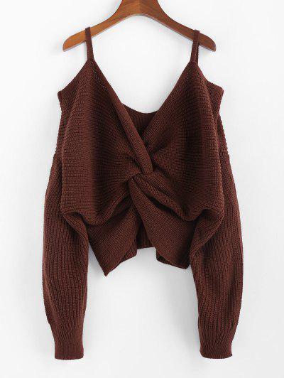 ZAFUL Twisted Cold Shoulder Jumper Sweater - Sepia L
