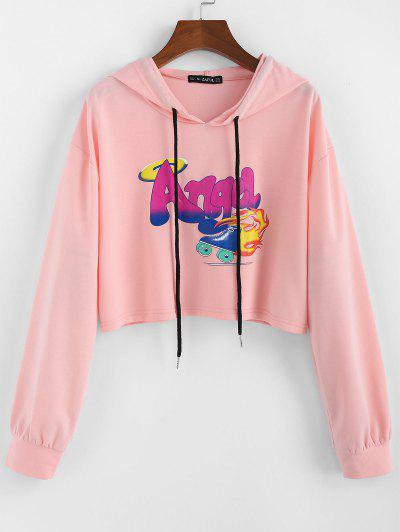 ZAFUL Letter Graphic Drawstring Cropped Hoodie - Flamingo Pink M