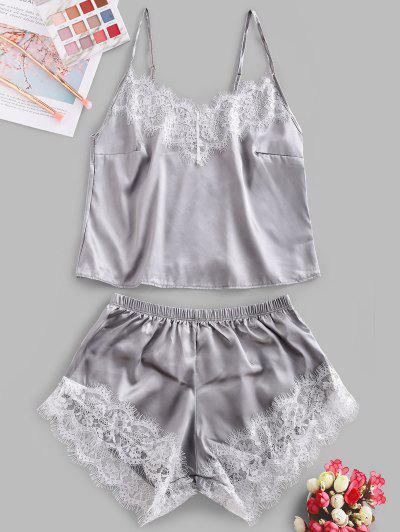 Lace Panel Satin Crop Pajama Set - Gray M