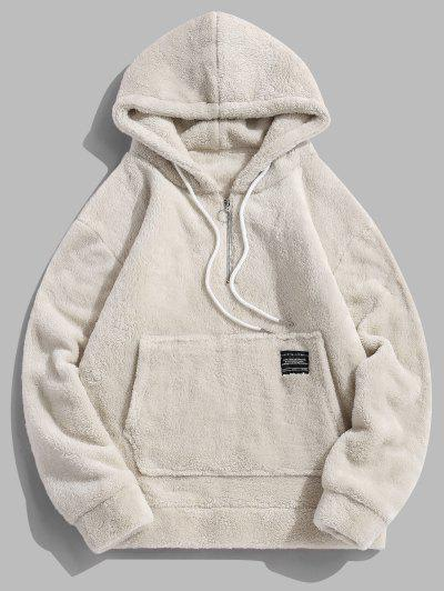 Applique Solid Color Faux Fur Half Zipper Drawstring Hoodie - Warm White S