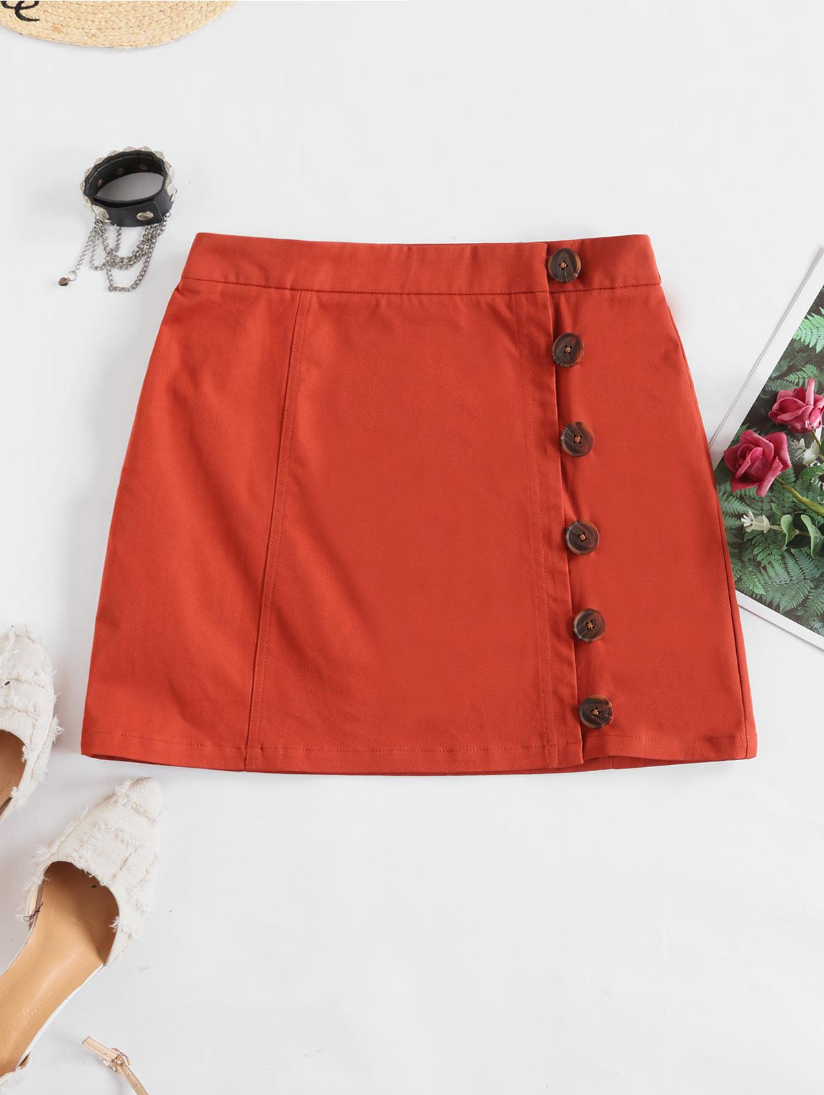 ZAFUL Loop Button Solid A Line Skirt