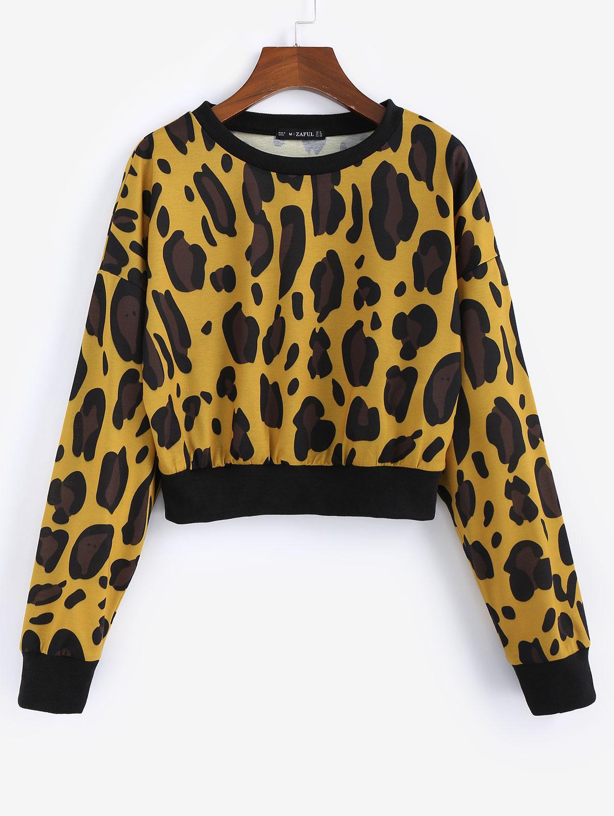 ZAFUL Leopard Print Crew Neck Crop Sweatshirt