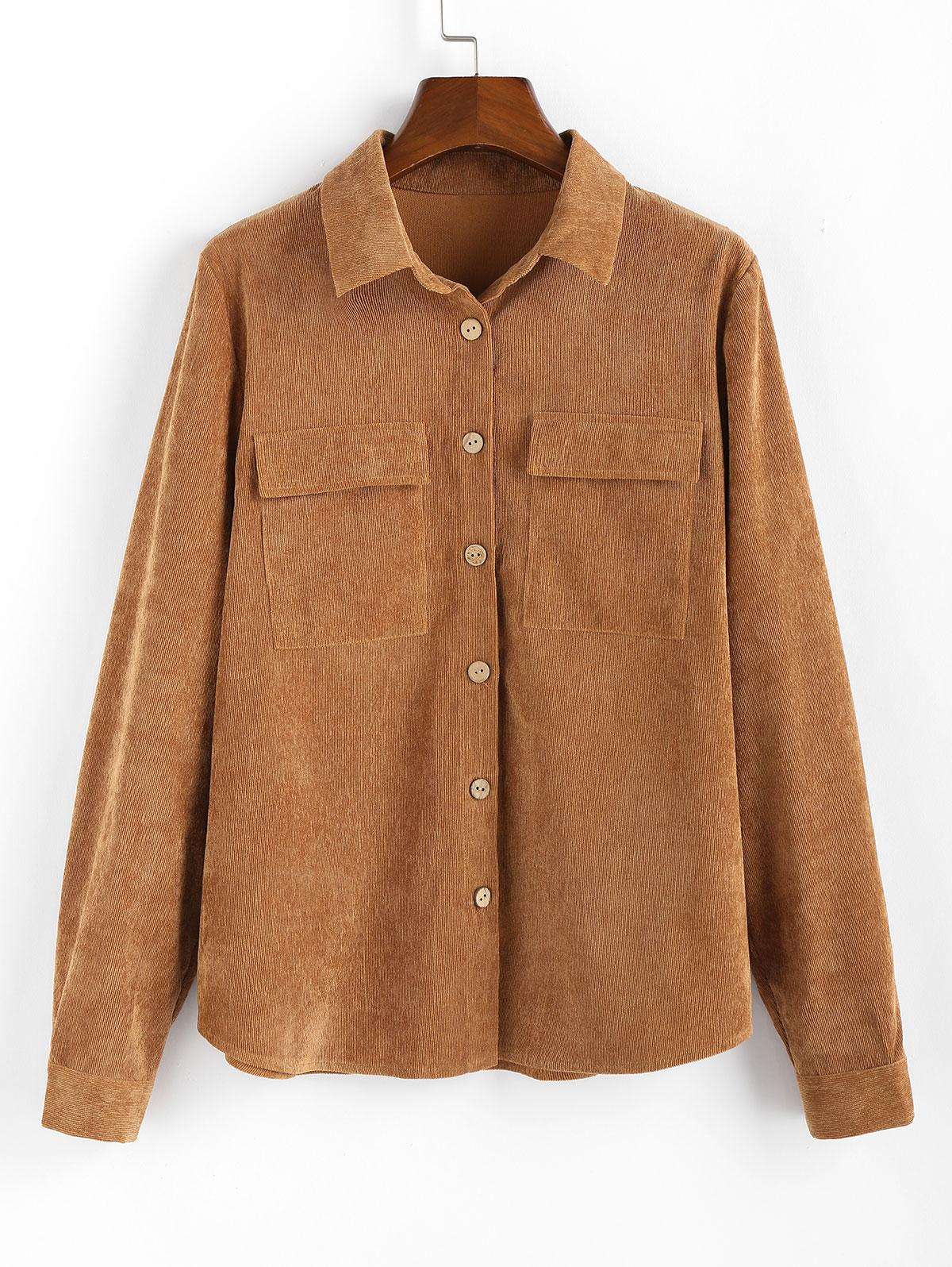 ZAFUL Button Up Pockets Corduroy Shirt фото