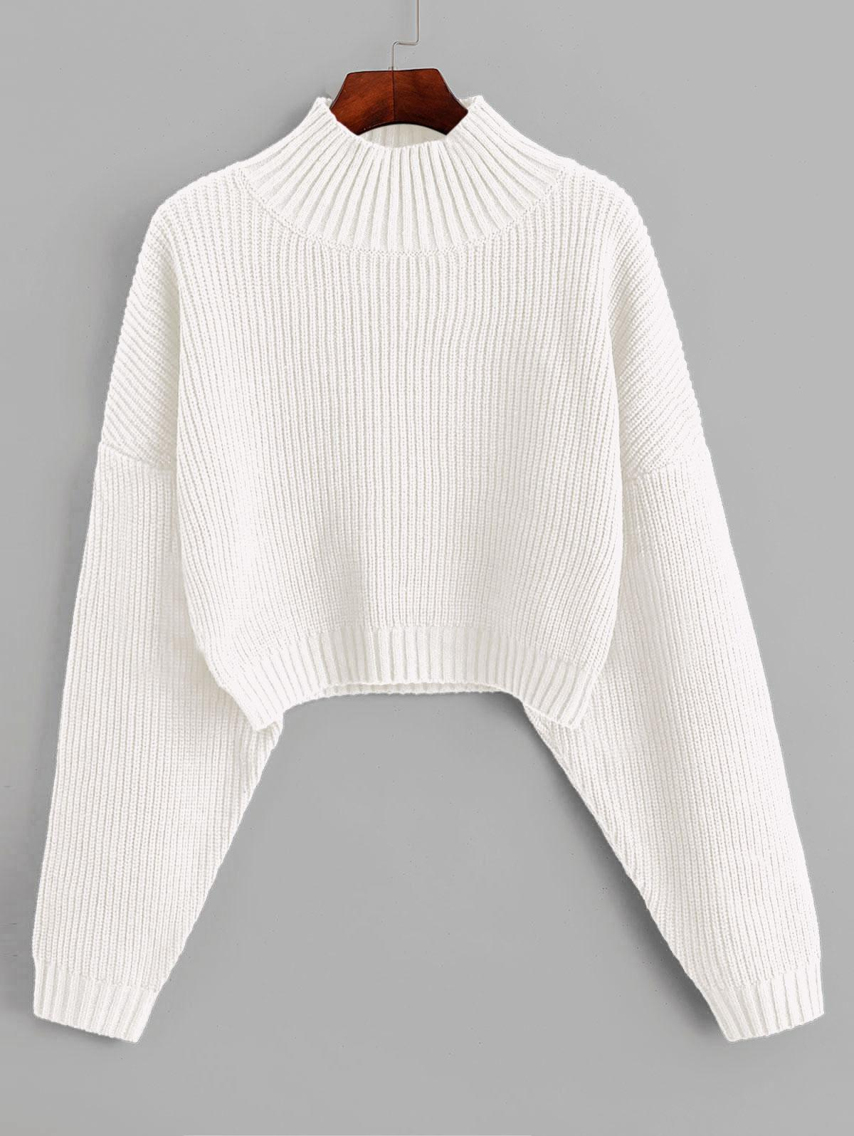 ZAFUL Drop Shoulder Mock Neck Plain Sweater