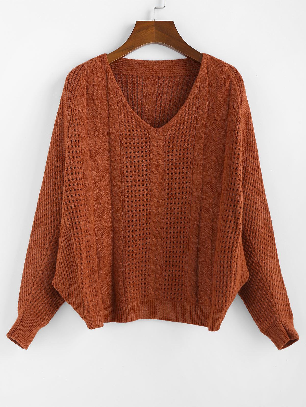 ZAFUL x Yasmine Bateman Dolman Sleeves V Neck Solid Open Knit Sweater