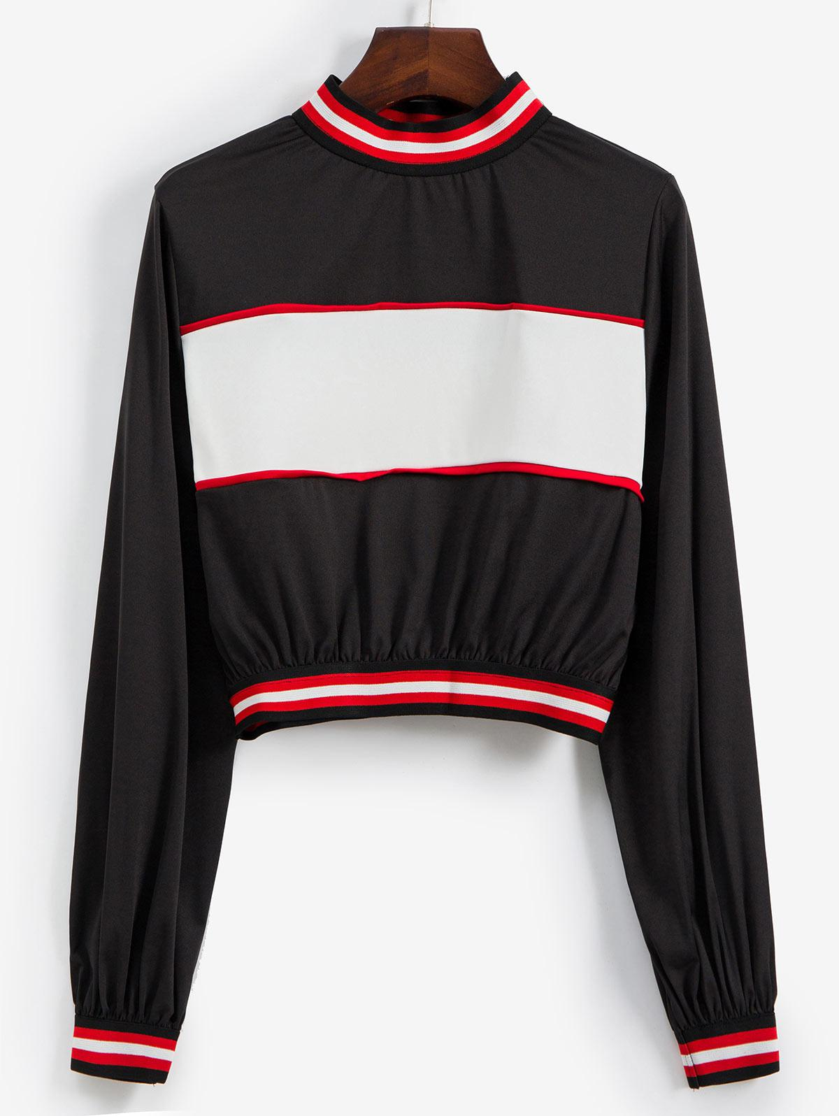 Mock Neck Colorblock Stripes Pullover Sweatshirt