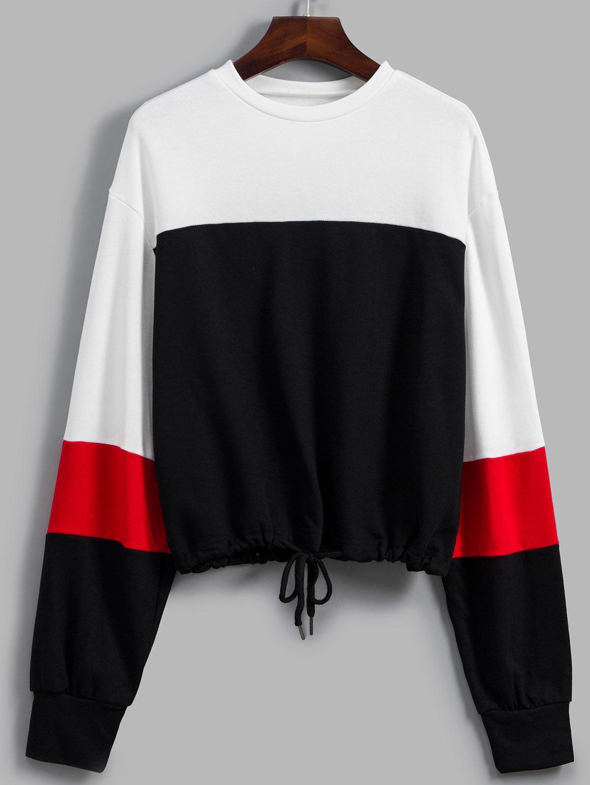 Drawstring Drop Shoulder Colorblock Sweatshirt
