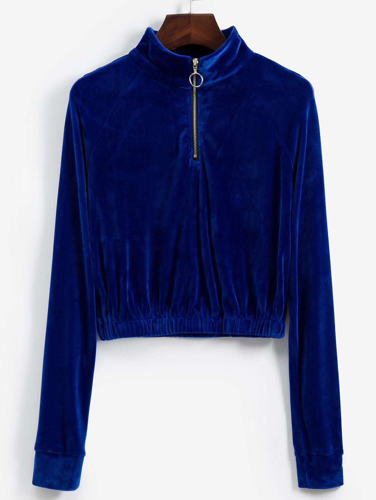 Raglan Sleeve Half Zip Velvet Sweatshirt