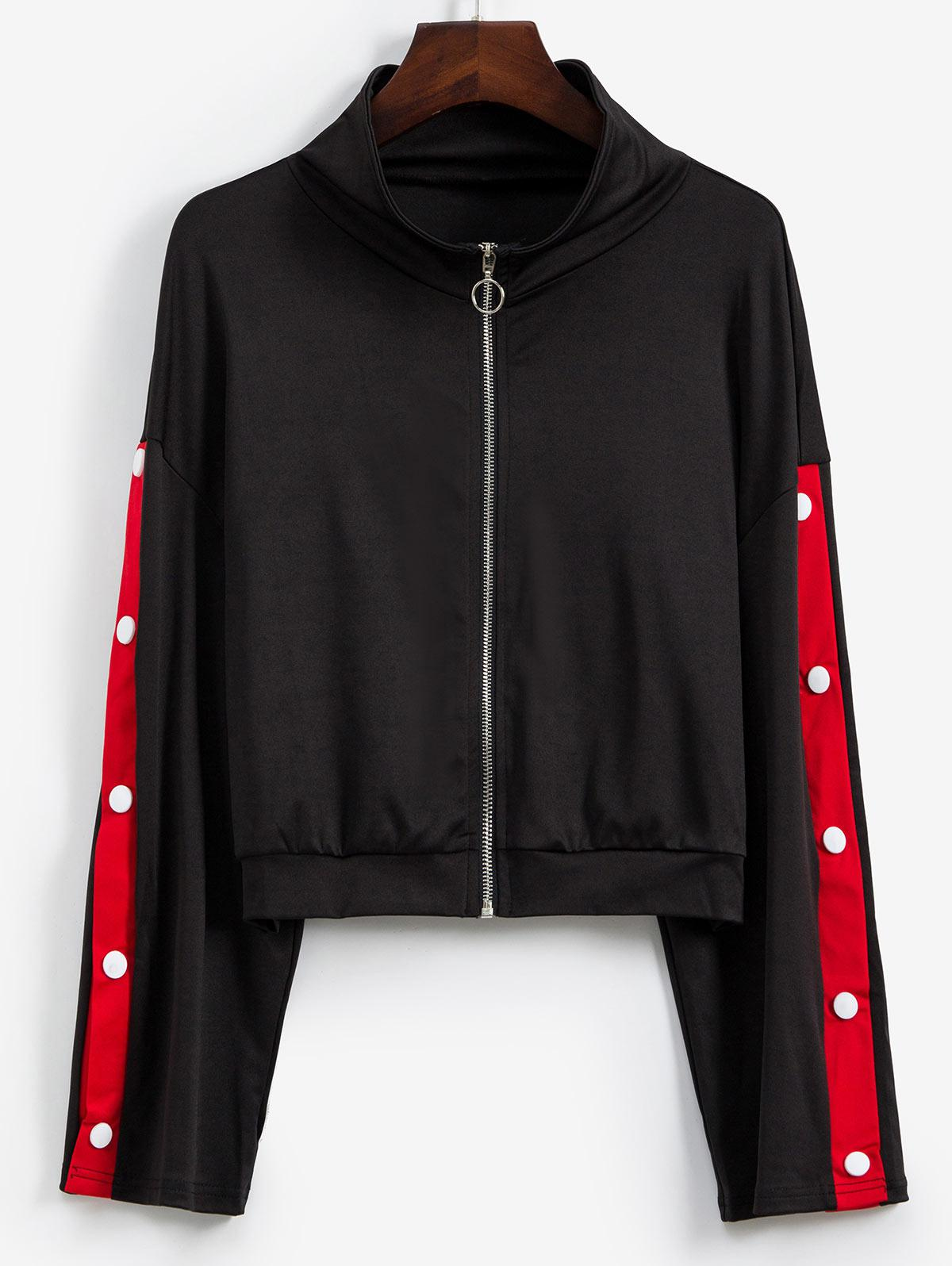 Contrast Snap Button Sleeve Zip Front Jacket