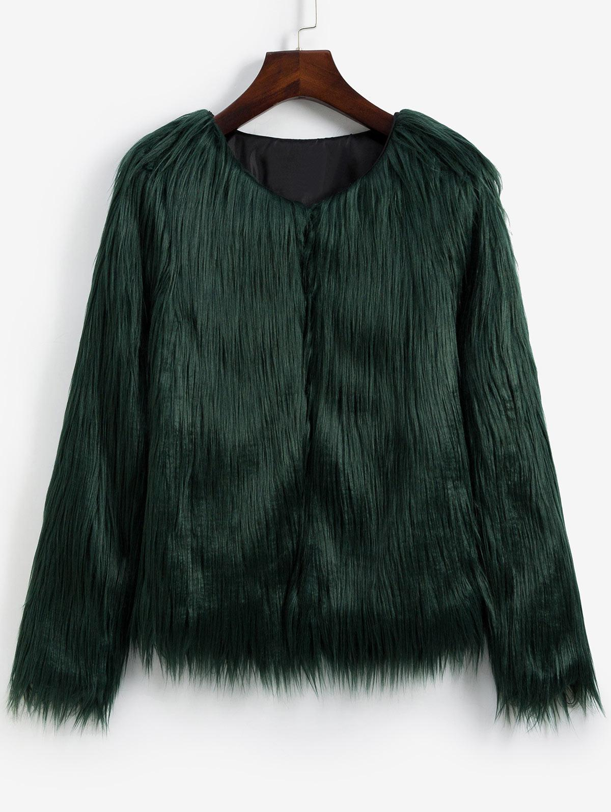 Faux Fur Shaggy Style Plush Fluffy Coat