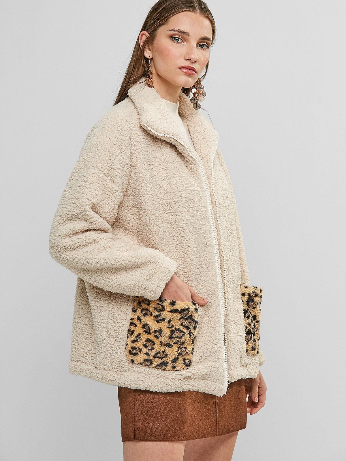 Zip Up Leopard Dual Pocket Teddy Jacket