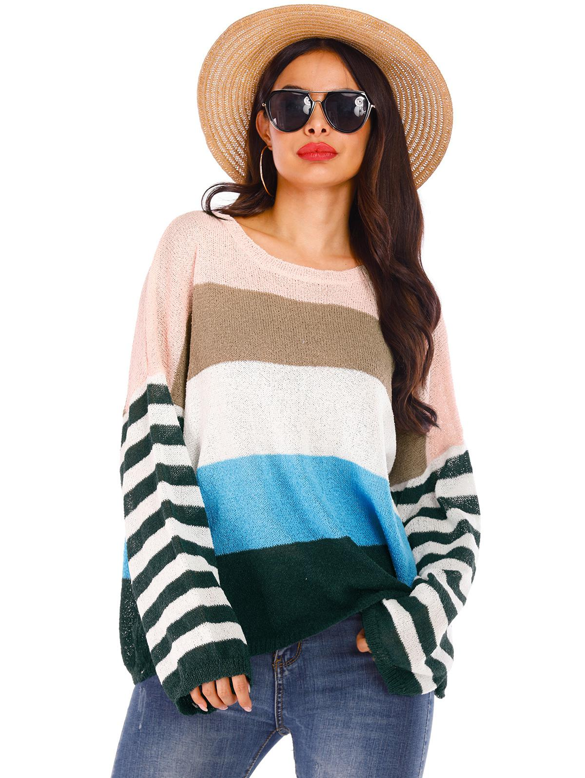 Drop Shoulder Colorblock Striped Crew Neck Sweater