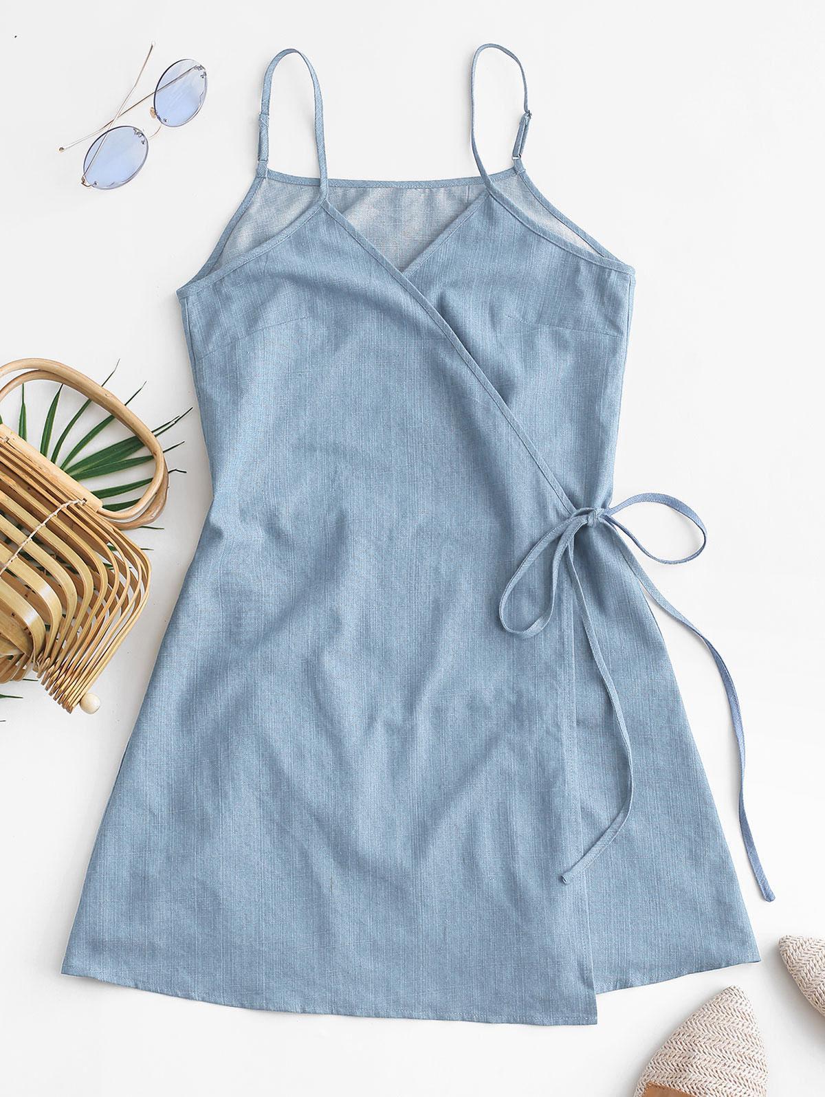 ZAFUL Tie Chambray Cami Wrap Dress фото