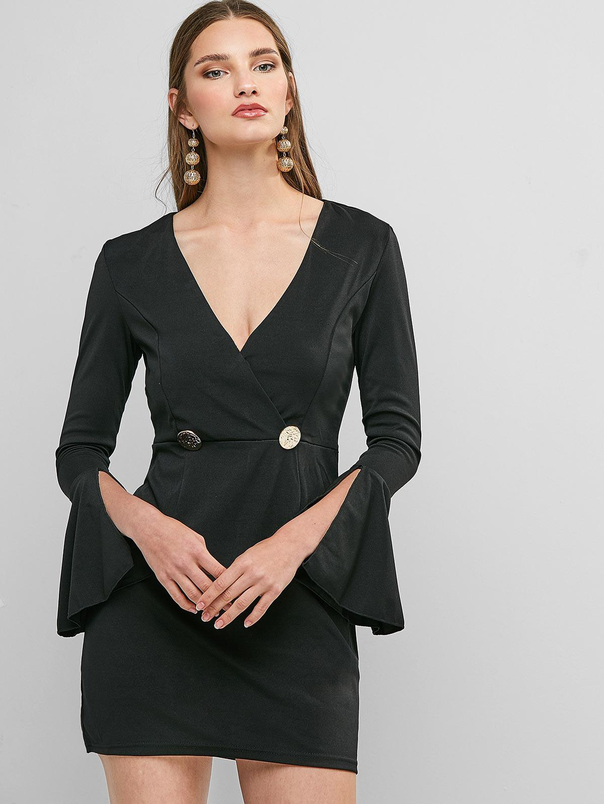 Flare Sleeve Mock Buttons Mini Surplice Dress фото