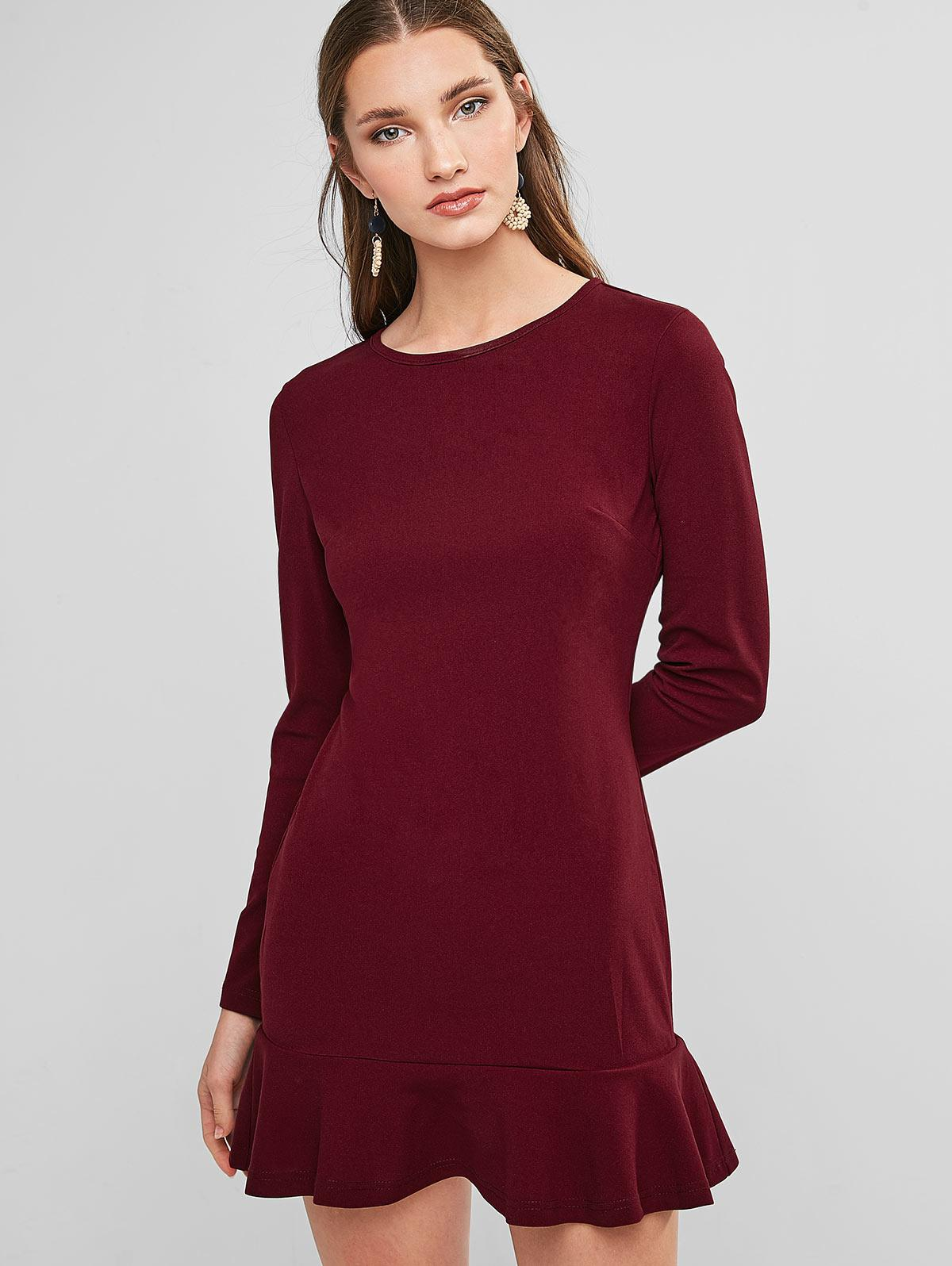 ZAFUL Flippy Hem Mini Sheath Dress