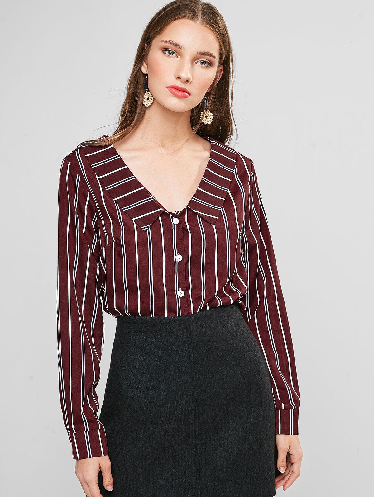 Striped Turndown Collar Knotted Blouse фото