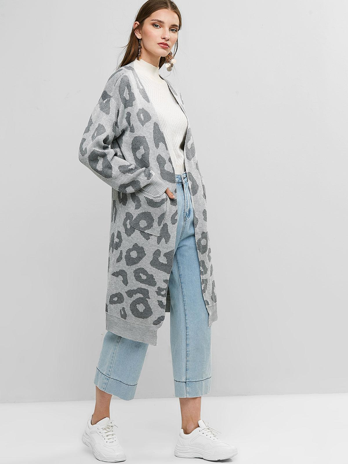 Leopard Pocket Drop Shoulder Cardigan