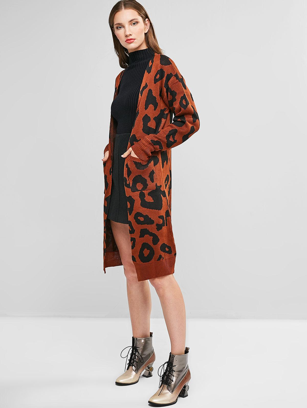 Leopard Pocket Drop Shoulder Cardigan
