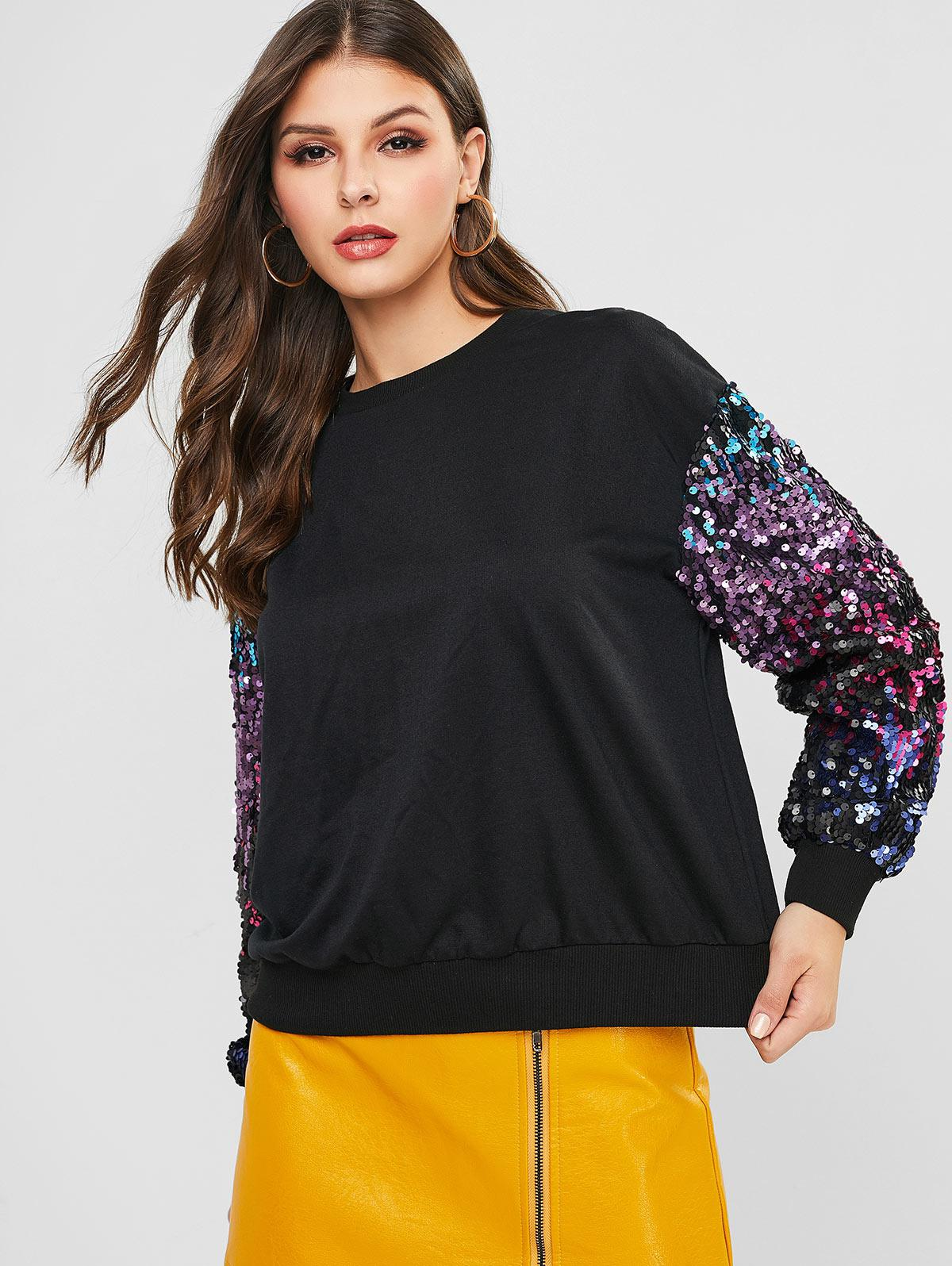 ZAFUL Sequined Sleeves Crew Neck Sweatshirt