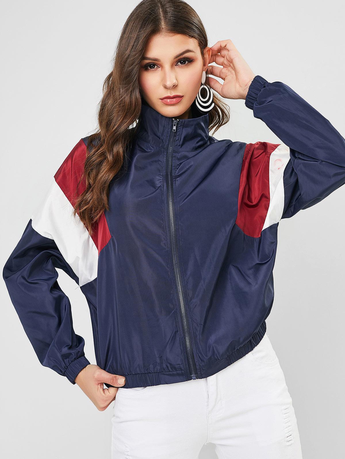 ZAFUL Colorblock Zip Up Loose Windbreaker Jacket