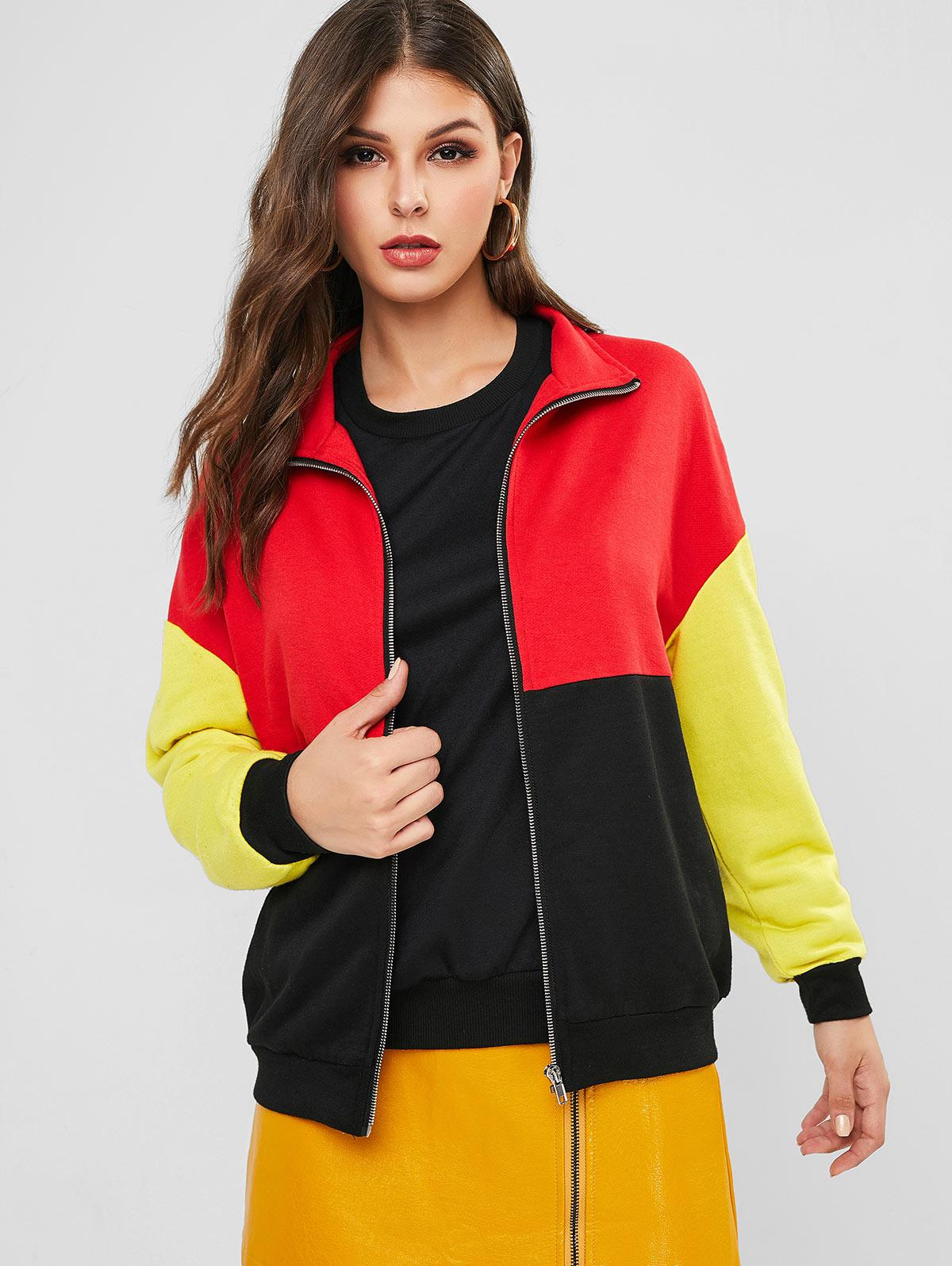 ZAFUL Zip Up Colorblock Loose Jacket