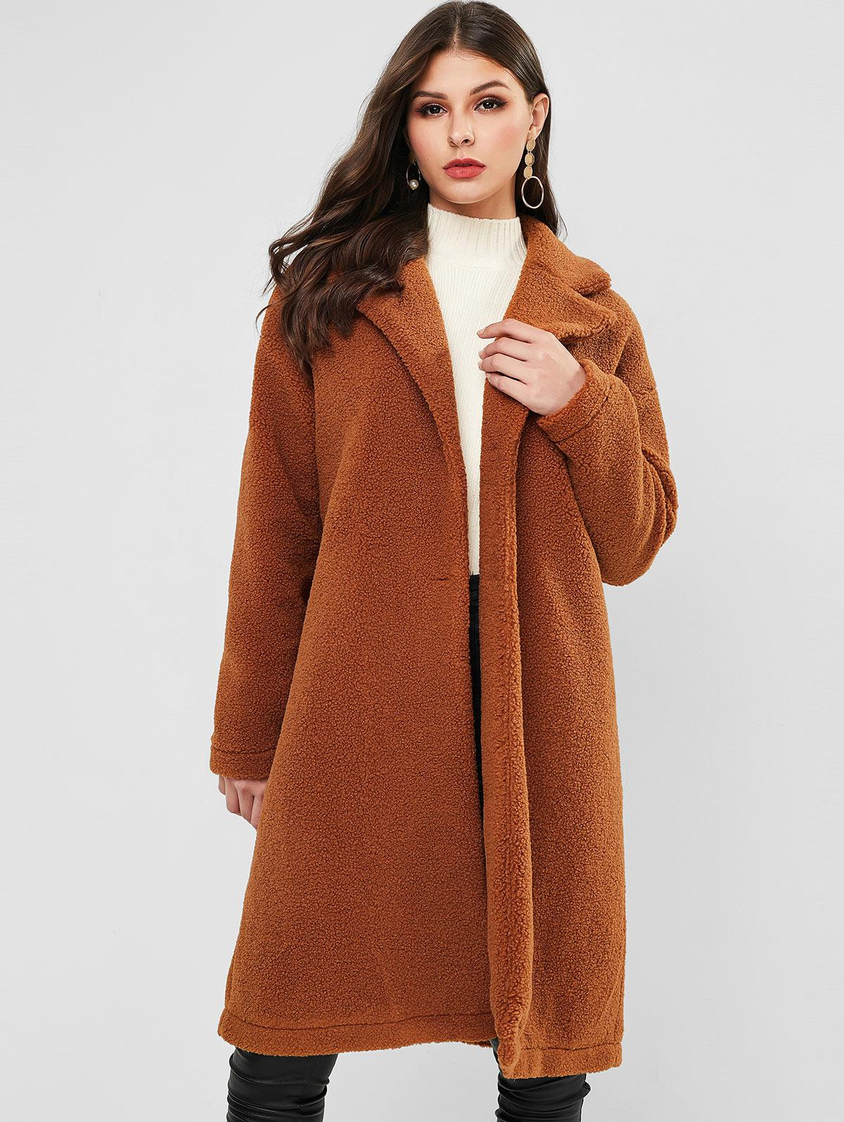 ZAFUL Button Up Solid Lapel Teddy Coat