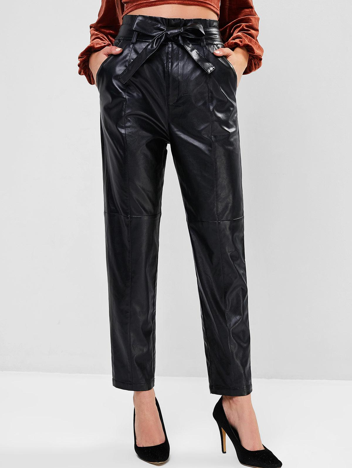ZAFUL High Waist Belted Faux Leather Pants
