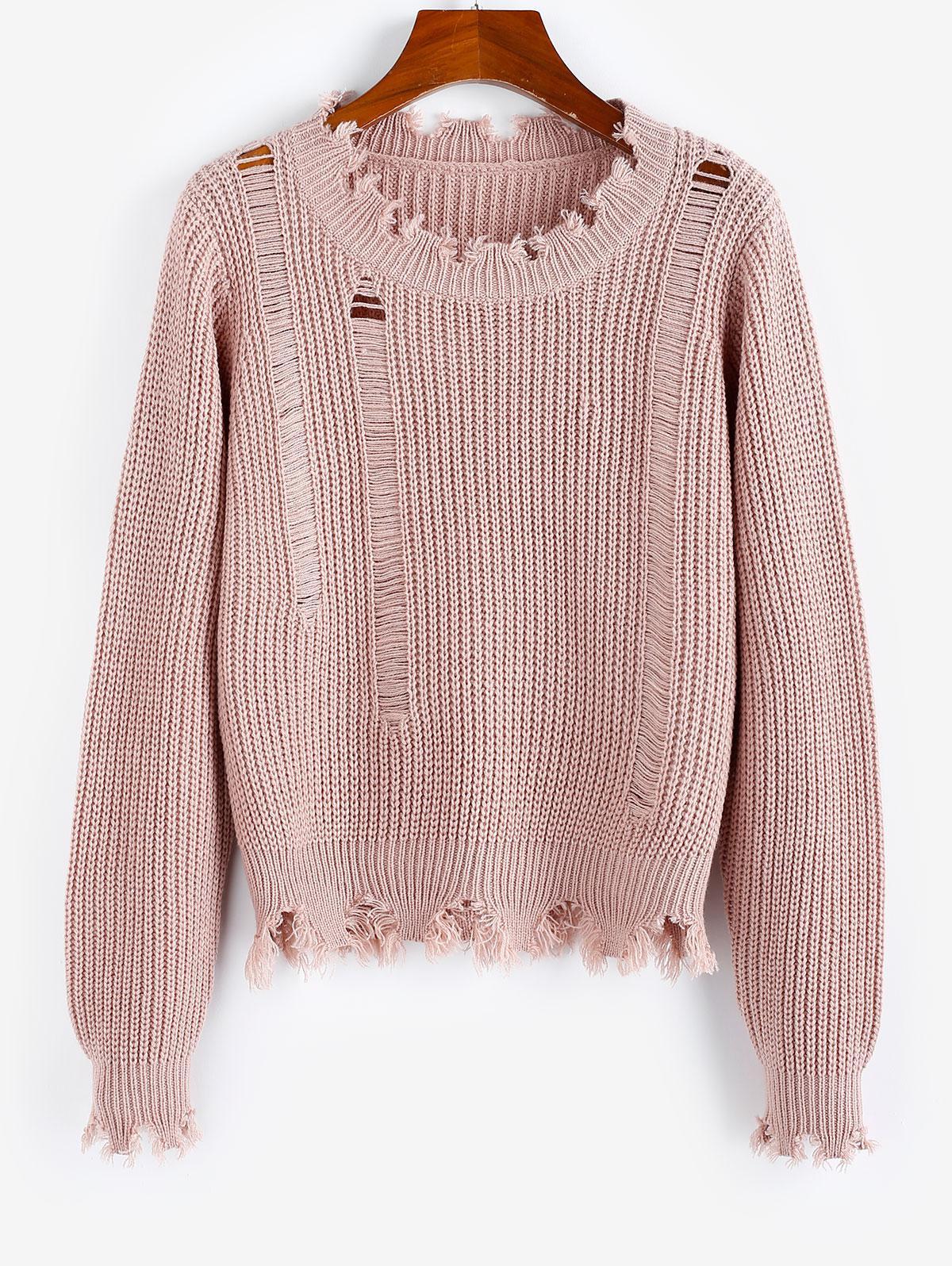ZAFUL Ripped Frayed Detail Plain Sweater